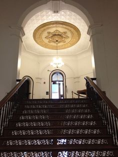 Looking up the stairs to the main floor of the Licking County Courthouse.