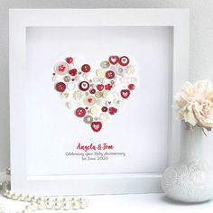 Are you interested in our Personalised Ruby Anniversary Heart Art ? With our Personalised Anniversary Wife framed you need look no further. Wedding Anniversary Celebration, 40th Wedding Anniversary, Happy Anniversary, Second Anniversary, Anniversary Ideas, Button Art, Button Crafts, Heart Artwork, Wife Birthday
