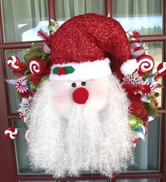 Merry Christmas Santa Clause Lime Green and Red Deco Mesh Door Wreath, $99.00