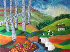 Textile art landscape wet felted sheep by SueForeyfibreart on Etsy