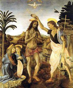 Leonardo Da Vinci - Baptisme of Christ at Uffizi Gallery Florence Italy #TuscanyAgriturismoGiratola