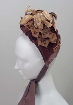 Bonnet, 1870-89, Made of velvet