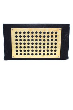 Kelly Wearstler Bitossi Clutch. Perforated brass plate with 100% lamb leather. #kellywearstler