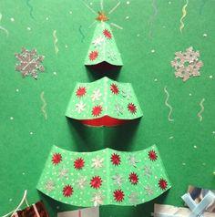 carte Pop-up pour Noël à fabriquer soi-même - arbre de Noël vert décorée de flocons de neige en rouge et argent