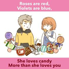Roses are red, Violets are blue, She loves candy More than she loves you. Are you reading Super Secret? Cute Anime Boy, I Love Anime, Super Secret Webtoon, Valentines Day Poems, Animal Captions, Cute Jokes, She Loves You, Webtoon Comics, 19 Days