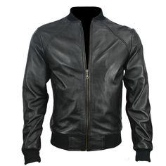 Black Baseball Mens Leather Jacket  	Jacket Features:  	 		Color: Black 	 		Leather: Sheepskin 	 		Polyster Lining 	 		Front Zipper 	 		T Shirt Collar