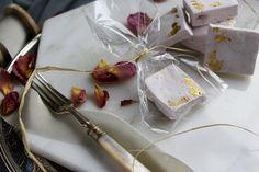Raspberry Marshmallows with gold gilding. Edible wedding favours by Yolk. www.cakesbyyolk.com
