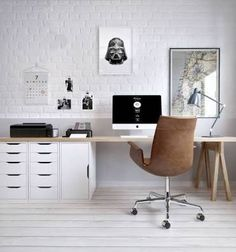 Love the long desk in ply and white drawers