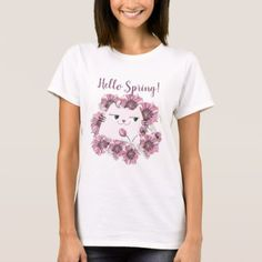Cat Cute Spring Floral Purple Bloom Blossom Chic T-Shirt - purple floral style gifts flower flowers diy customize unique