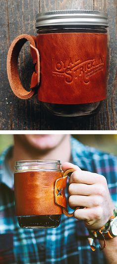 leather and mason jar mug