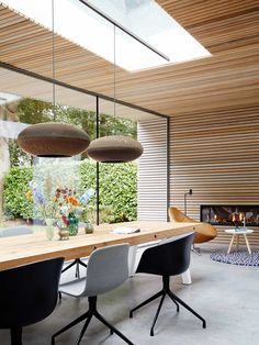 In the background chair Hidde by Label, a rug by Hay and lamps by Graypan . Timber Ceiling, Home Building Design, Wood Interiors, Interior Lighting, Interior Design Living Room, Decoration, Outdoor Furniture Sets, Home Decor, Architecture