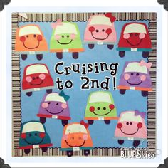 Cruisin' to Summer! End of the Year Bulletin Board with Cars #bulletinboards
