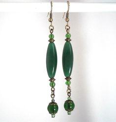 Boho romantic earrings dark green hand made by kalaniparis