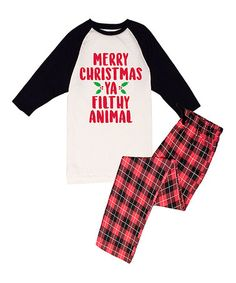 This Red 'Merry Christmas Ya Filthy Animal' Pajama Set - Men is perfect! #zulilyfinds