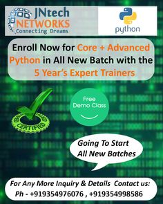 Enroll Now for the CORE + ADVANCED PYTHON training with highly  experienced trainers at the JNtech Networks  The Contact details are provided below: Ph. No. +919354976076, +919354998586 ,+91 7303448909 www.jntechnetworks.com Email: info@jntechnetworks.com Address: A33, Sector 2, Noida