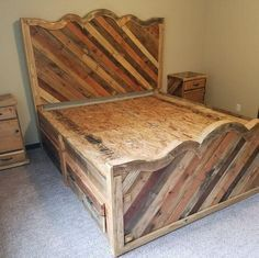 pallet bed diy project I would skip the scalloping and the foot board but yes