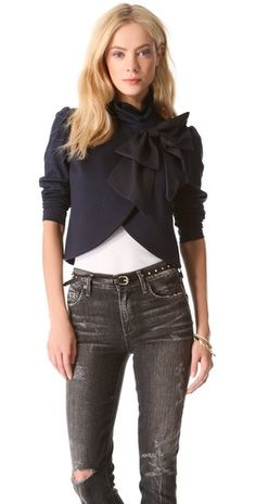 alice + olivia Addison Bow Crop Jacket | SHOPBOP with pencil skirt or cigarette pants for work