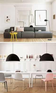 muuto catalogue    Picture below: Perfect work space!  Lovin the lamp shades