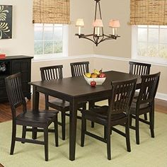 Home Style 5181-319 Arts and Crafts 7-Piece Rectangular Dining Set, Black Finish