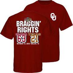 Oklahoma Sooners vs. Texas Longhorns 2012 Score T-Shirt - Crimson    #Fanatics