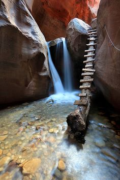 "Former pinner: ""If you haven't been, then go! Kanarraville hike. In a little town in between Cedar City UT and St. George."" Waterfall in Kanarra Creek Canyon, Slot Canyon, Utah"