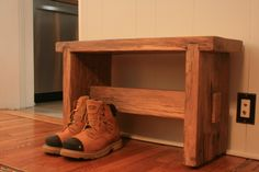 New Harvest Bench from Akins & O'Neill Design. Reclaimed Furniture, Shoe Rack, Harvest, Bench, Rustic, Design, Country Primitive, Rustic Feel, Reclaimed Wood Furniture