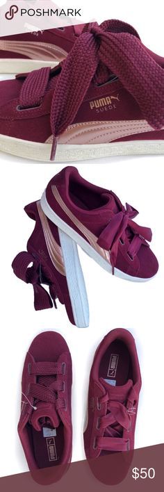 Puma Suede ❣ Burgundy  amp  Rose Gold Fat Lace Puma suede - burgundy  6458d17cd
