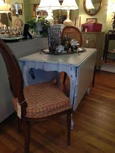 Vintage French Shabby Chic Cottage Painted Dropleaf by TessHome, $695.00