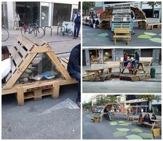 Boulevard Anspach in Brussels was recently turned into a pedestrian zone. To mark the go-ahead, ephemeral installation were made from recycled pallets. Free Wood Pallets, Wood Pallet Bar, Pallet House, 1001 Pallets, Recycled Pallets, Wooden Pallets, Pallet Benches, Outdoor Pallet, Pallet Furniture Plans