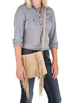 crossbody bag with fringe in tan - #maurices