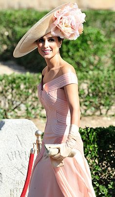 Paloma Cuevas wearing a Philip Treacy hat. Mother of the Bride.