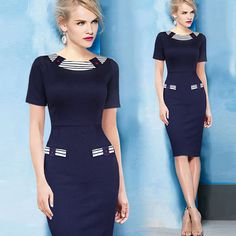 Source Latest Elegant Women Summer Dress Short Sleeve Patchwork Pencil Dress O-Neck Bodycon Office Lady Dress Wholesale on m.alibaba.com