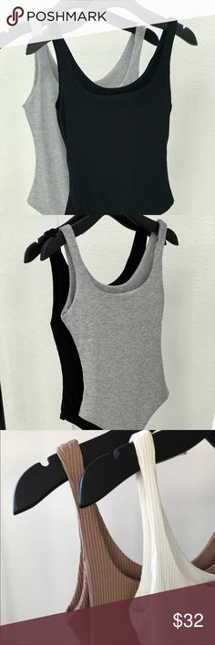 Gina Tank Bodysuit-Black This belongs in all closets!!! Completely double layered. Same fabric inside & out, so it doesn't show a odd lining color! Super soft & so comfortable!!! Thong bottom with snap button closure. Tops