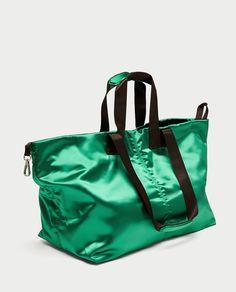 Satin Vert, Sacs Design, Latest Bags, Zara Bags, Fabric Bags, Nylon Bag, Shopper Bag, Casual Bags, Backpack Bags
