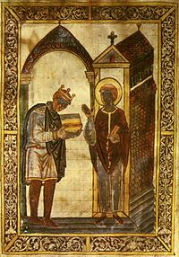 King Aethelstan (924–39) presenting a copy of Bede's Life of St Cuthbert to the saint himself. This is the earliest known depiction of a crowned English king.