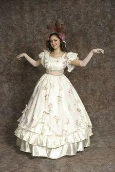 $35.00 Costume Rental  Mabel  cream & pink floral dress w/cream ruffled skirt