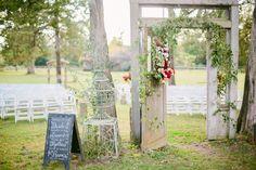 rustic fall themed wedding ceremony