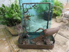 Signed Mid-Century Modern Copper Water Fountain With A Egret, Water Lilies And Green Glass. by FLORIDAMODERN on Etsy