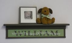 """Personalized Green Brown Baby Nursery Decor 30"""" Shelf with Custom Name - You Are The Hero Of Your Own Story - Kids Room Wall Sign / Shelves on Etsy, $65.00"""