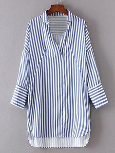 :: Romwe | Vertical Striped High Low Shirt Dress ::