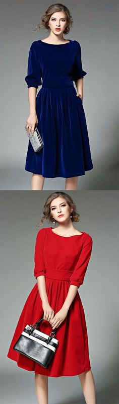 Women's Club Sexy Lace Dress,Solid Round Neck Knee-length Long Sleeves Wool Winter Dress