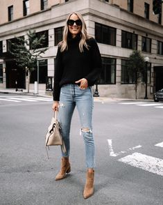 Fashion Jackson Wearing Amazon Fashion Black Turtleneck Sweater Ripped Jeans Tan Suede Booties Winter Fashion Outfits, Fall Winter Outfits, Autumn Winter Fashion, Chic Womens Fashion, Chic Fashion Style, Winter Fashion Women, Women Fashion Casual, Winter Ootd, Stylish Winter Outfits