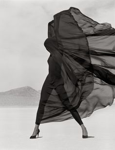 Versace, Veiled Dress, El Mirage (1990), by Herb Ritts