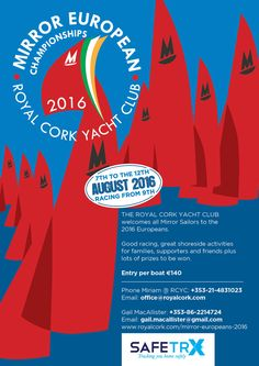 THE ROYAL CORK YACHT CLUB welcomed Mirror Sailors to the 2016 Europeans. Yacht Club, Sailors, Thing 1 Thing 2, Cork, Activities, Mirror, Movie Posters, Mirrors, Film Poster