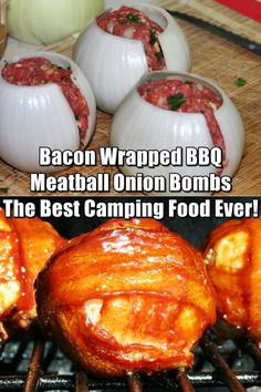Bacon Wrapped BBQ Meatball Onion Bombs - Best Camping Food Ever - You can cook these in aluminium foil straight on the fire. This is great because you don't have to lug around heavy skillets. I promise that once you try these you will want to make these every time you go camping. Amazing!