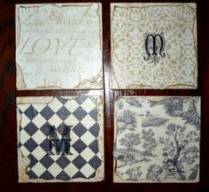DIY Christmas Gifts – Tile Coasters - but not just coasters for cups - how about using bigger tiles and use them at your table for hot dishes out of the oven...?