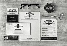 Stellar branding for Fast Eddie's Barber Shop. Clever use of type and creative logo development. #z3