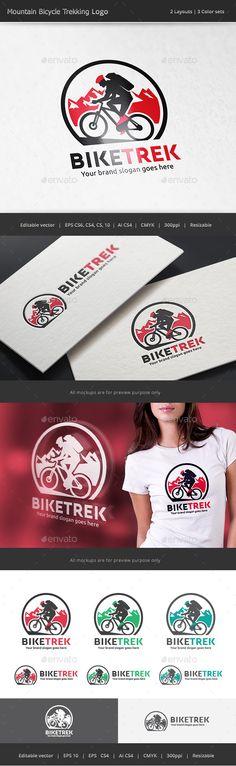 Mountain Bike Trekking Logo — Vector EPS #extreme #tour • Available here → https://graphicriver.net/item/mountain-bike-trekking-logo/17514205?ref=pxcr