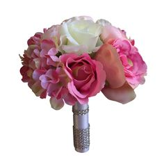 "8"" Bouquet-shades of pink and cream artificial flowers."