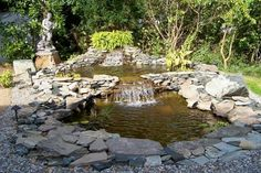 77 Awesome Small Waterfall Pond Landscaping Ideas - nicholas news Backyard Water Feature, Ponds Backyard, Backyard Ideas, Backyard Waterfalls, Outdoor Ideas, Garden Features, Water Features, Front Yard Landscaping, Landscaping Ideas